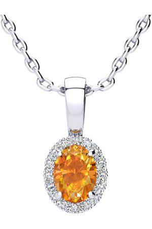 SuperJeweler Women Necklaces - 1/2 Carat Oval Shape Citrine & Halo Diamond Necklace in w/ 18 Inch Chain