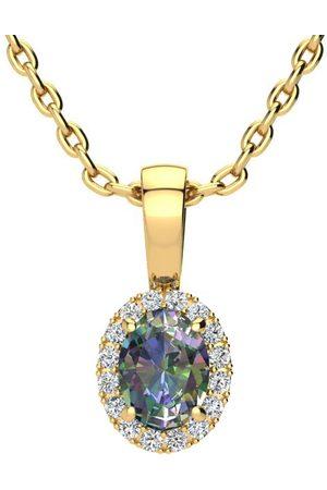SuperJeweler Women Necklaces - 0.62 Carat Oval Shape Mystic Topaz & Halo Diamond Necklace in w/ 18 Inch Chain