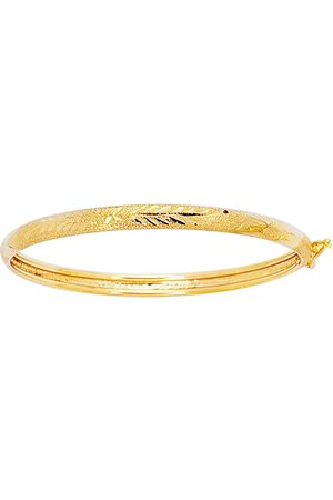 SuperJeweler Girls Bracelets - 14K (3.20 g) 5.5mm 5.50 Inch Children's Shiny Diamond Cut Florentine Bangle Bracelet by