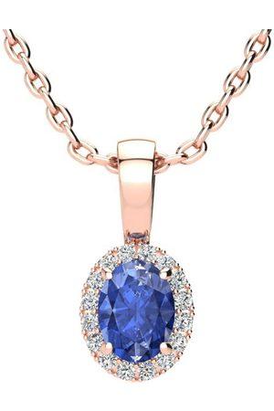 SuperJeweler 0.62 Carat Oval Shape Tanzanite & Halo Diamond Necklace in w/ 18 Inch Chain
