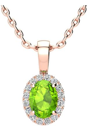 SuperJeweler Women Necklaces - 1 Carat Oval Shape Peridot & Halo Diamond Necklace in w/ 18 Inch Chain