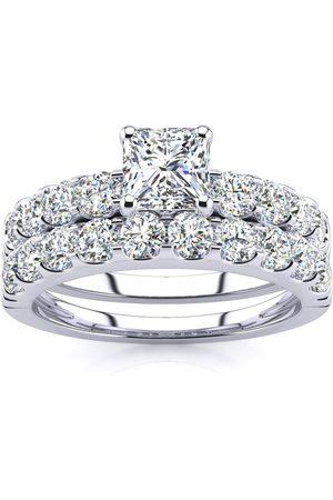 SuperJeweler 2 Carat Princess Center Engagement Ring & Wedding Band Set in 14K (6.3 g)