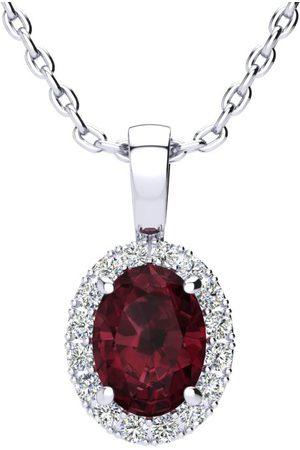 SuperJeweler Women Necklaces - 1.5 Carat Oval Shape Garnet & Halo Diamond Necklace in w/ 18 Inch Chain