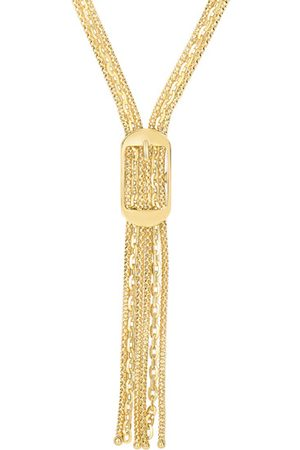 SuperJeweler 14K (12.80 g) 17 Inch Lariat Necklace w/ Rectangle Buckle by