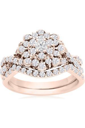 SuperJeweler 1 Carat Floral Halo Diamond Bridal Ring Set in 14k (3.3 g)