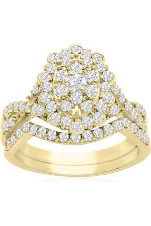 SuperJeweler 1 Carat Oval Halo Diamond Bridal Ring Set in 14K (3.5 g)