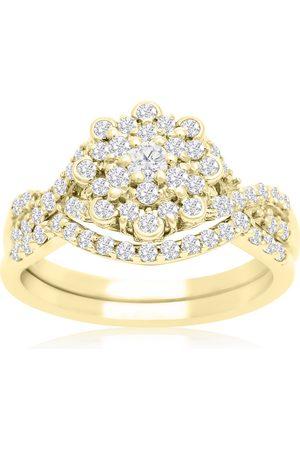 SuperJeweler 3/4 Carat Floral Halo Diamond Bridal Ring Set in 14K (3 g)