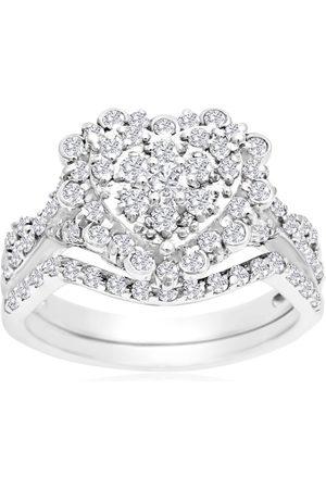 SuperJeweler 1 Carat Heart Halo Diamond Bridal Ring Set in 14K (3.6 g)