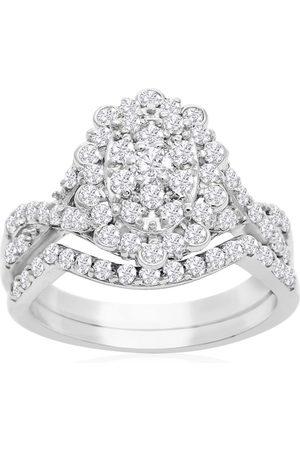 SuperJeweler Women Rings - 1 Carat Oval Halo Diamond Bridal Ring Set in 14K (3.5 g)