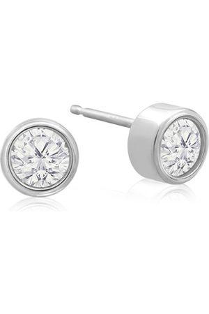 SuperJeweler 1/4 Carat Bezel Set Diamond Stud Earrings Crafted in 14K (0.6 g)