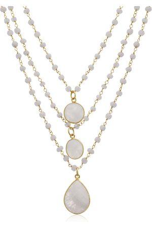 SuperJeweler 138 Carat Moonstone Triple Strand Beaded Necklace in 14K Over Sterling Silver
