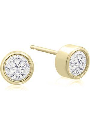 SuperJeweler 1/5 Carat Bezel Set Diamond Stud Earrings Crafted in 14K (0.6 g)