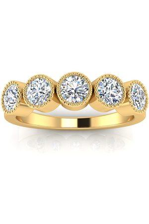 SuperJeweler 1 Carat Five Diamond Bezel Set Wedding Band in 14k