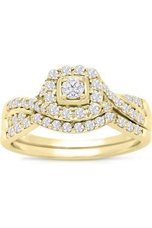 SuperJeweler 1/2 Carat Halo Diamond Bridal Ring Set in 14K (3.7 g)