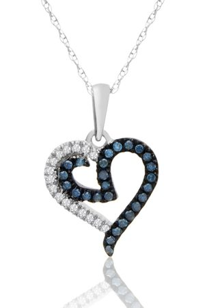 SuperJeweler 0.15 Carat Blue & White Diamond Heart Necklace in