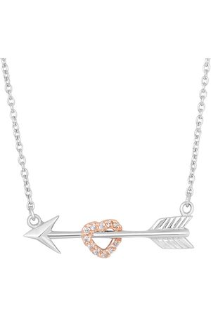 SuperJeweler Sterling Cubic Zirconia Shot Through The Heart Necklace