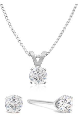 SuperJeweler 1/4 Carat Diamond Stud Earrings & Necklace
