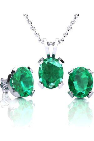 SuperJeweler 3 1/2 Carat Oval Shape Emerald Necklace & Earring Set in Sterling by