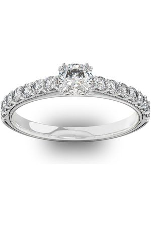 SuperJeweler Women Rings - 1 Carat Cushion Cut Double Prong Set Engagement Ring in 14K (2.7 g)
