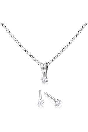 SuperJeweler Her First Diamond Necklace & Earrings. Fiery Dainty Diamonds