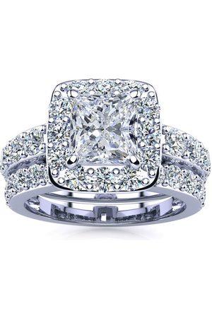 SuperJeweler 3 1/2 Carat Radiant Cut Halo Diamond Bridal Engagement Ring Set in 14k (9.4 g)