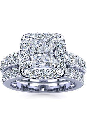 SuperJeweler 4 1/2 Carat Radiant Cut Halo Diamond Bridal Engagement Ring Set in 14k (10 g)