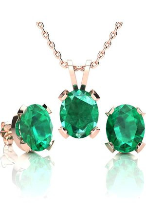 SuperJeweler 3 1/2 Carat Oval Shape Emerald Necklace & Earring Set in 14K Over Sterling Silver by