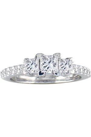 SuperJeweler Women Rings - 1 Carat Princess Cut Three Diamond Bridal Engagement Ring Set in 14k .