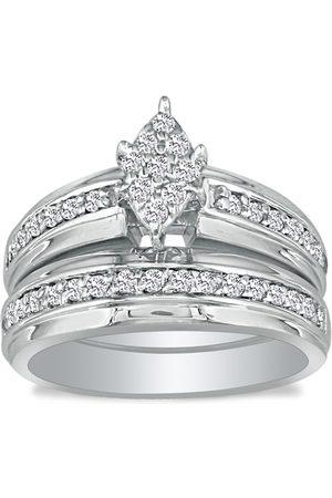 SuperJeweler 1/2 Carat Marquise Head Diamond Bridal Engagement Ring Set in