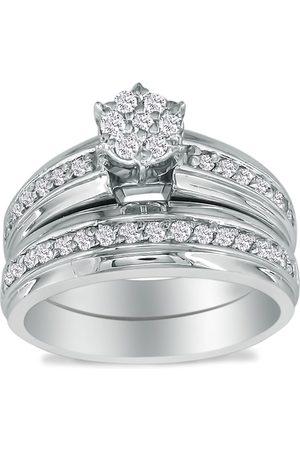 SuperJeweler 1/2 Carat Round Shaped Head Bridal Engagement Ring Set in