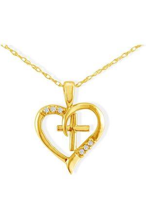 Hansa .03 Carat Cross in Heart Pendant Necklace in