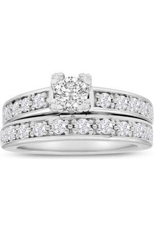 SuperJeweler 1 Carat Ladies Traditional Diamond Bridal Ring Set in 14k (7 g)