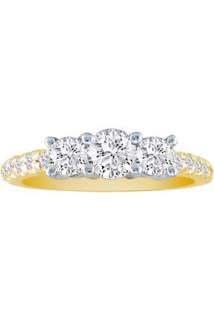 SuperJeweler 1 Carat Round Brilliant Cut Three Diamond Bridal Ring Set in 14k