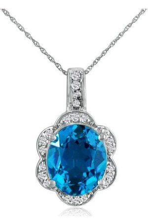 SuperJeweler Large 4 Carat Oval Blue Topaz & Diamond Pendant Necklace Set in 14k (4.8 g)