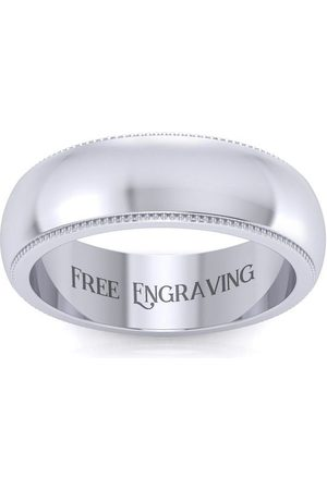 SuperJeweler Men Rings - (6.4 g) 6MM Comfort Fit Milgrain Ladies & Men's Wedding Band