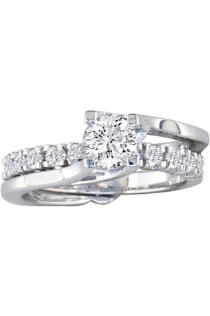 SuperJeweler Interlocking Spiraling 7/8 Carat Diamond Bridal Engagement Ring Set in 14k (6 g)