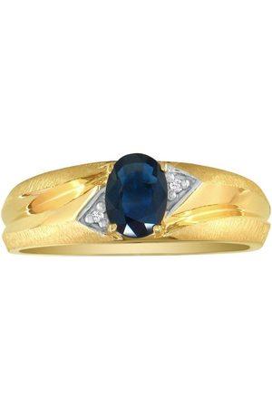 SuperJeweler Dual Texture (2.8 g) 1 Carat Oval Sapphire & Diamond Men's Ring