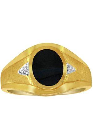 SuperJeweler Oval Onyx & Diamond Men's Ring