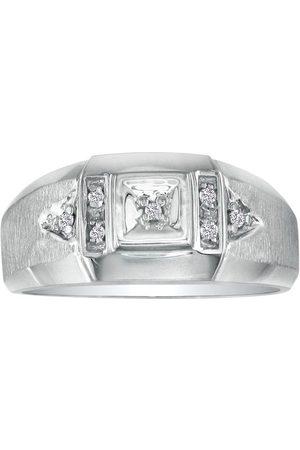 SuperJeweler Brushed White Diamond Men's Ring in (2.8 g)