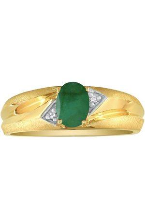 SuperJeweler Dual Texture (2.8 g) .86 Carat Oval Emerald Cut & Diamond Men's Ring