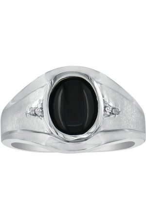 SuperJeweler Oval Onyx & Diamond Men's Ring (4 g)