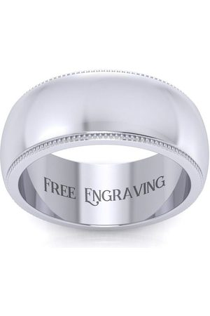 SuperJeweler Men Rings - 8MM Comfort Fit Milgrain Ladies & Men's Wedding Band
