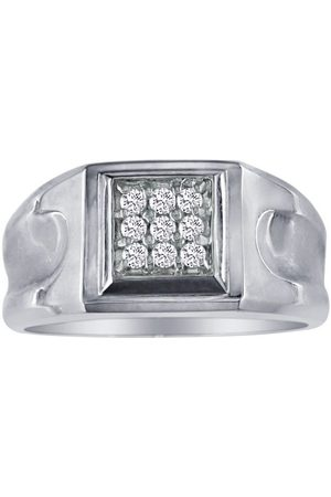 SuperJeweler 1/5 Carat 9-Diamond Stylish Men's Ring