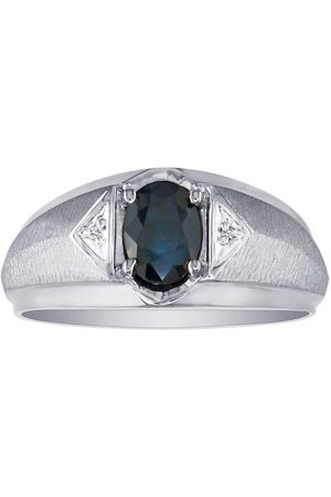 SuperJeweler Men's Sapphire & White Diamond Ring in (2.8 g)