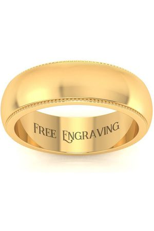 SuperJeweler Men Rings - 14K (3.5 g) 6MM Milgrain Ladies & Men's Wedding Band
