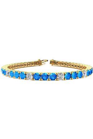 SuperJeweler 9 Inch 14 Carat Blue Topaz & Diamond Alternating Tennis Bracelet in 14K (15.4 g)