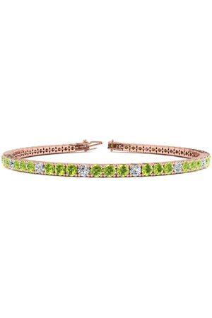 SuperJeweler Women Bracelets - 7 Inch 4 Carat Peridot & Diamond Alternating Tennis Bracelet in 14K (9.4 g)