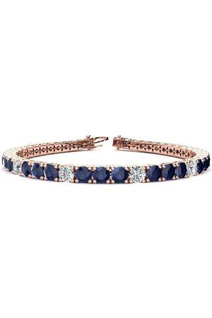 SuperJeweler 8 Inch 13 3/4 Carat Sapphire & Diamond Alternating Tennis Bracelet in 14K (13.7 g)