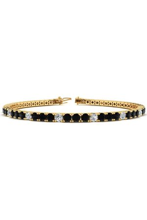 SuperJeweler 6 Inch 3 1/2 Carat Black & White Diamond Alternating Tennis Bracelet in 14K (8.1 g)