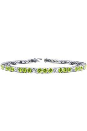 SuperJeweler 7 Inch 4 Carat Peridot & Diamond Alternating Tennis Bracelet in 14K (9.4 g)